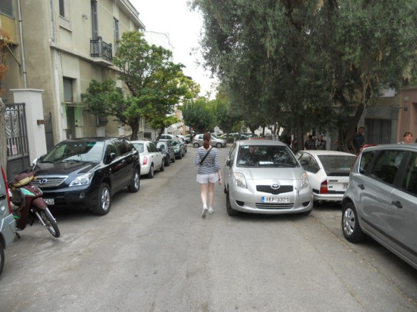 Greek parking at its finest. Note the No Parking sign at the left of the picture.