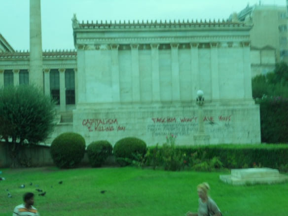 This is a crappy shot, but it gives you a sense of the prevalence of the graffiti